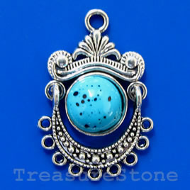 Pendant/charm, silver-finished,turquoise color, 21x32mm.Pkg of 2
