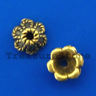 Bead cap, antiqued brass finished, 6x3mm. Pkg of 20.