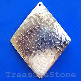 Charm/pendant, silver-plated brass, 35x44mm diamond. Pkg of 6.