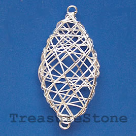 Link, silver-plated wire wrapped,23x43mm oval. Pkg of 4