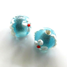 Bead, lampworked glass, blue, 15mm bumpy round. Pkg of 4.