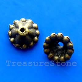 Bead cap, antiqued brass finished, 7mm. Pkg of 20.