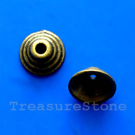 Bead cap, antiqued brass finished, 5x10mm. Pkg of 18.