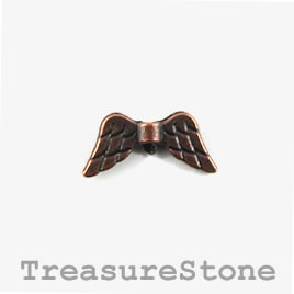Bead/charm, copper-colored, 9x20mm angel wings. Pkg of 11.