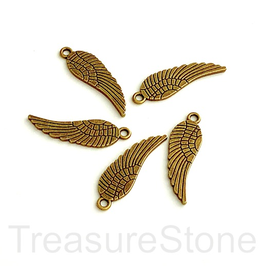 Charm/pendant, brass-plated, 10x27mm angel wing. Pkg of 5.