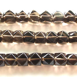 Bead, smoky quartz, 9x10mm faceted cube. 15 inch.