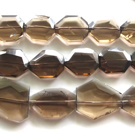 Bead, smoky quartz, about 20x25mm faceted freeform. 16 inch.