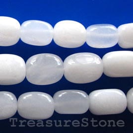 Bead, white jade, nugget, 12x19mm. Sold per 16-inch strand.